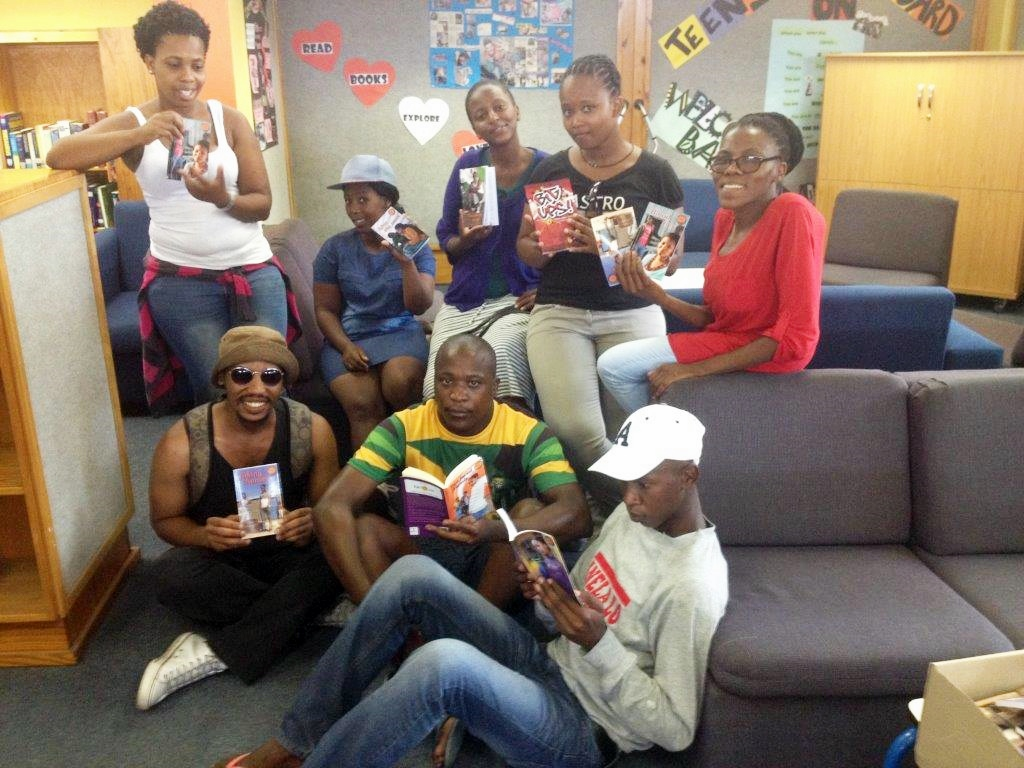 Sophie Mahuzie with teens from Nyanga Library