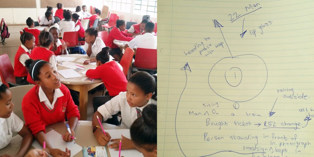 Learners from Sunridge Primary School. Another story starter brainstorming: 'In my bag I had a map, lip gloss and R52...