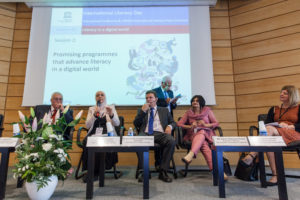 A panel with representatives of the five UNESCO Literacy Prize 2017 winners