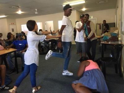 Volunteers doing role play based on a FunDza story